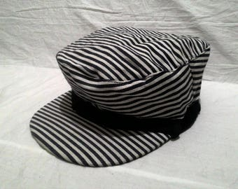 retro girl sailor cap stripe design