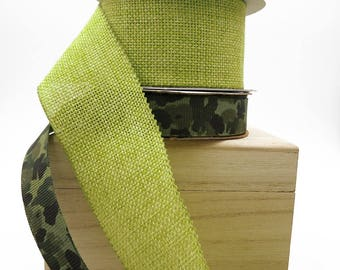Green Ribbon. Camo Ribbon. Fall Ribbon. Gift Wrap. Gift Basket Ribbon. Favor Bag Ribbon