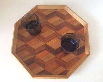 Octagon Geometric Inlay Wood Tray | Philippines | Vintage | Retro
