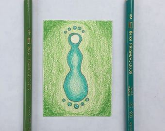 Original Art Card - Turquoise Goddess