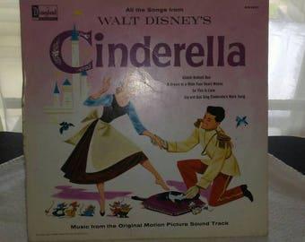 1959 Walt Disney Cinderella Disneyland Record vintage