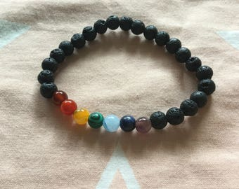 Chakra balancing bracelet with natural gemstones and lava beads
