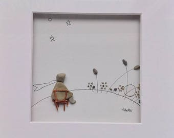 The Little Prince Sunrise 25 x 25 cm original Libellei pebble art