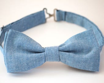Blue jeans bow tie, light blue denim bow tie, light blue jeans boys bow tie, denim bow tie, mens blue bow tie, mens light blue bow tie