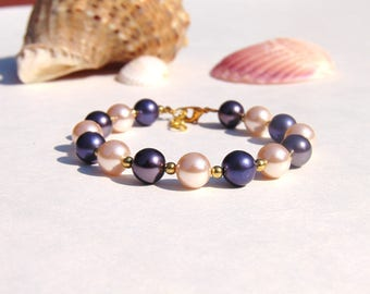 Pink pearl Bracelet -8mm, purple bracelet, bridesmaid gift, wedding jewelry, simple bracelet, bridesmaid jewelry, gift for her, wedding