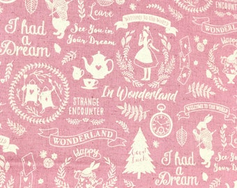 Japanese Fabric Kokka Alice in Wonderland Cotton Linen Canvas - pink - 50cm