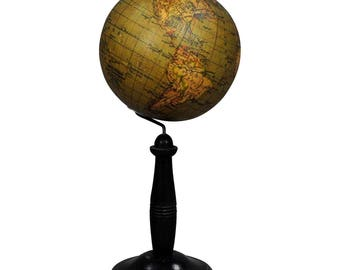 antique colorful globe published by Raeth, Leipzig ca. 1900