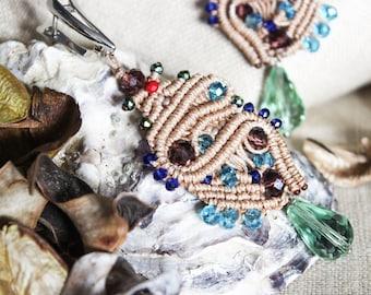 Bohemian chandelier earrings/Bohemian earrings/Macrame earrings