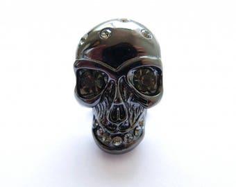 Black skull button cover
