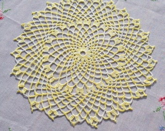 Straw yellow doily and is very Lacy White hand crochet