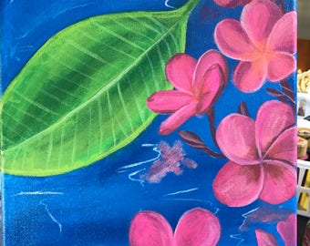 Pink plumeria flower over water painting