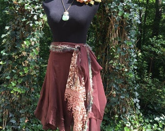 Fairy Tribal Skirt LARP Skirt Cosplay Skurt Fae Pagan Wiccan Faires Costume Gypsy Skirt Coachella