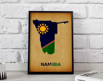 Namibia art Country Map poster Namibia poster wall art wall decor Gift print