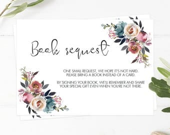 Bring a Book Request Card for Baby Shower Invitation Inserts Floral Baby Shower Purple and Pink Flowers Baby Library Cards Printable PDF LF1