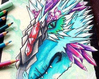Crystal Dragon Pencil Drawing