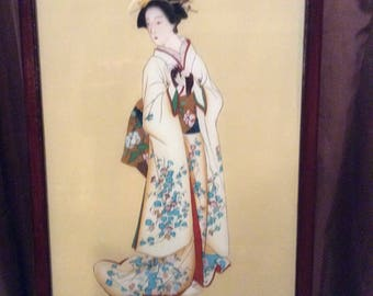 Antique Asian / Japanese Geisha woman / girl : Reverse Painting on Glass in original frame