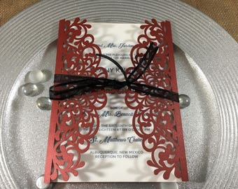 Laser Cut Wedding Invitation, Red Lacquer Wedding Invitation laser cut, Laser Cut Invitations, Laser Cut Cards