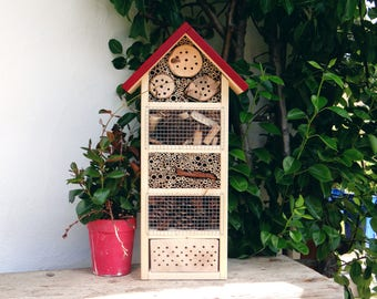 Wild bees and insect Hotel produced handmade - roof red - wood tile