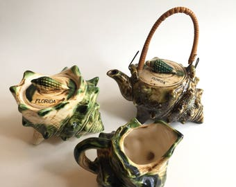 Vintage Florida Souvenir Conch Shell Tea Set