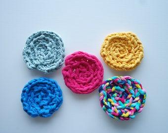 Rainbow Crochet Coaster Set (5 Pieces)
