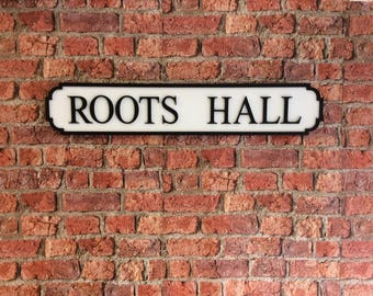 ROOTS HALL vintage wooden street road sign