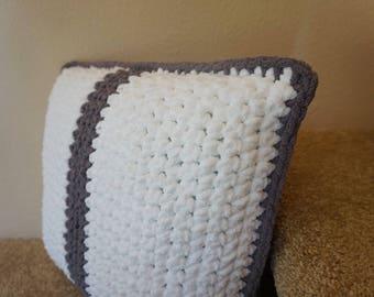 Grey and White Handmade Crochet 18x16 Throw Pillow