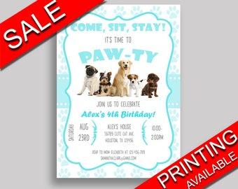 dogs birthday invitation dogs birthday party invitation dogs birthday party dogs invitation boy girl mint invite - Dog Birthday Party Invitations