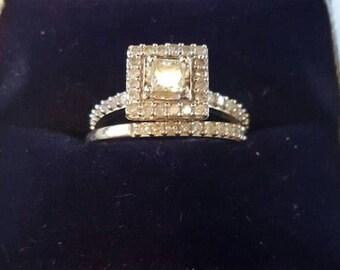 Engagement Ring Set Princess Cut 14K gold (size 6)