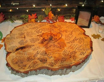 Rustic Live Edge Guest Signing Slab