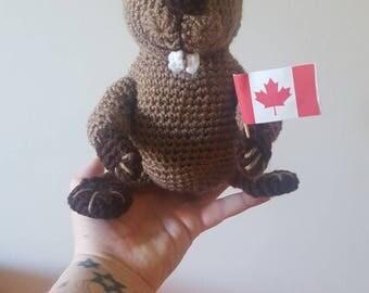 Handmade stuffed beaver toy