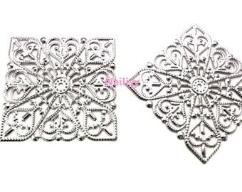 Set of 5 prints dark silver filigree REF1416 4cm