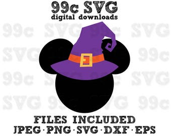 Mickey Mouse Halloween Witch Hat SVG DXF Png Vector Cut File Cricut Design Silhouette Cameo Vinyl Decal Disney Template Heat Transfer Iron
