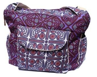 Diaper bag in African/tribal print - red/purple dots