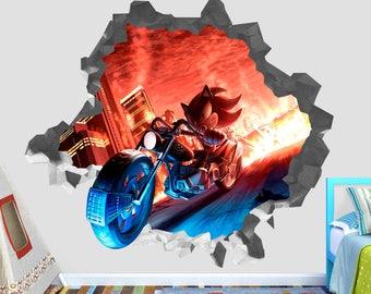 Sonic Shadow Hedgehog Wall Decal 3D Kids Sticker Art Decor Vinyl Character  Door OP187