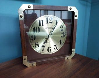 Vintage Mercedes Wood Brass Clock