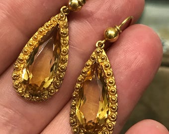 Antique late Victorian citrine and gold earrings from about 1880