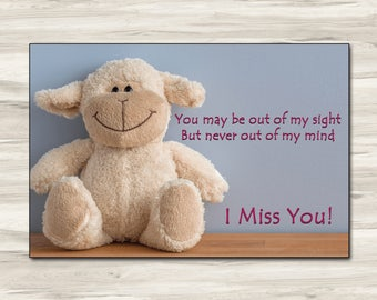 6x4 I Miss You card, one sided, editable template card, digital download