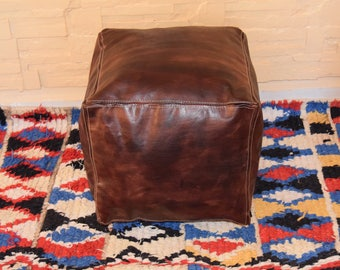 Moroccan leather, ottoman square dark tan pouf, square handmade footstool