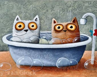 "cats in the bathroom, cat print, print of original art painting, 7"" x 9,4"","