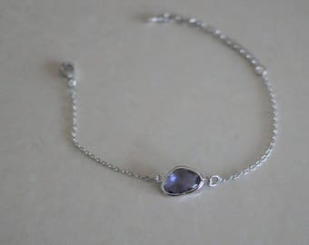 Silver chain bracelet with dark Mauve Tanzanite - wrist and ankle glass stone