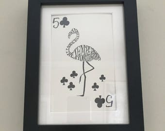 Classic Alice in Wonderland Illustration - framed Postcard - Five of Clubs