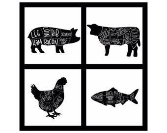 Set of 4 Butcher prints | Kitchen Art | Farmhouse Decor | Kitchen Prints | Butcher Diagram | Cow, Pig, Fish, Chicken | Farmhouse Prints