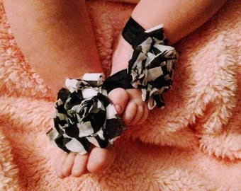 Black and White Barefoot Baby Sandals