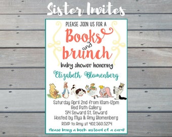 Storybook Baby Shower Invitation, Story Book Shower, Bring a book baby shower, Storybook invitation, Story book, Stock the library