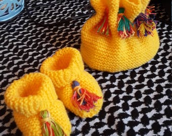 Yellow Hat and Booties with Tassels
