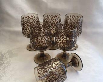 Vintage set of six Libbey stemmed wine glasses