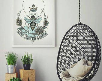 God save the queen, queen bee digital art print, instant download, hipster print, save the bees