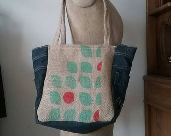 Denim and burlap from coffee bag tote bag