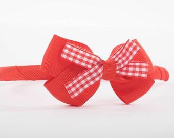 Red Bow Headband,Back to school, school Headband, School hair accessories, Gingham, School accessories, Bows, Red Headbands, Alicebands