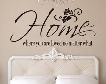 Home Loved Vinyl Wall Sticker Inspirational Motivational Quote Wall Decal